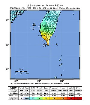 2006 Hengchun earthquakes - Image: USGS Shakemap 2006 Taiwan earthquake second event