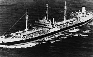 USNS Cossatot (T-AO-77) underway in the 1950s