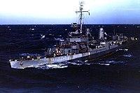 USS Cotten (DD-669) underway in the Pacific Ocean, circa in 1945 (NH 104391-KN).jpg