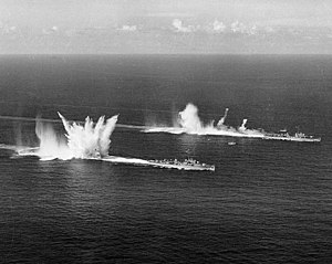 USS Epperson (DDE-719) and USS Sarsfield (DDE-837) dropping depth charges 1950.jpg