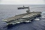 USS George Washington (CVN-73) and USS Ronald Reagan (CVN-76) underway in August 2015.JPG