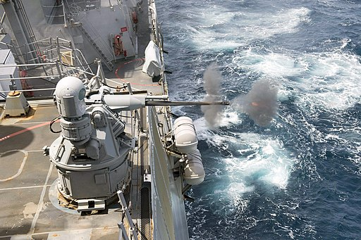 USS Howard fires its Mk. 38 Mod. 2 machine gun during a live-fire exercise. (36009631892)