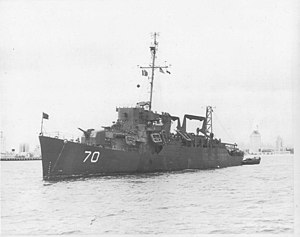 USS Pavlic (APD-70) at anchor in San Diego Bay, in mid-1946