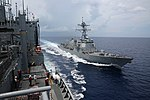 USS Stockdale (DDG-106) approaching USNS Charles Drew (T-AKE-10) during replenishment-at-sea 160419-N-IX266-001.jpg