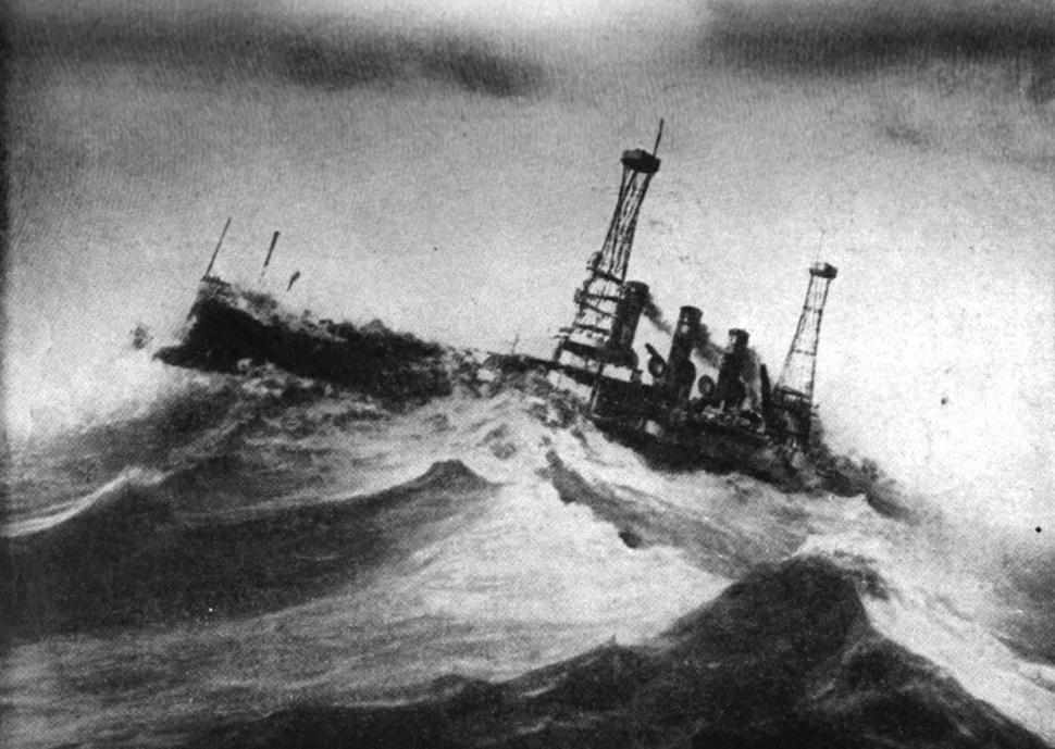 USS Vermont in storm, December 1913
