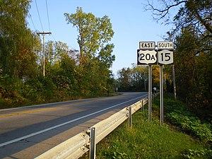 U.S. Route 20A (New York) - US 20A east and NY 15 south in Lakeville