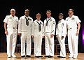 US Navy 050526-N-2383B-357 Chief of Naval Operations (CNO), Adm. Vern Clark, and Master Chief Petty Officer of the Navy (MCPON) Terry Scott, pose for a photo as they flank this year's finalists for the CNO Shore Sailor of the Y.jpg
