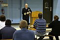 US Navy 070503-N-3271W-001 Director for Operational Plans and Joint Force Development, Joint Staff, Rear Adm. Richard J. Mauldin, speaks with a group of 40 Delayed Entry Program members, encouraging them as they prepare for Nav.jpg