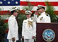 US Navy 070601-N-2188M-002 Incoming Commander of the Naval Oceanography Operations Command (NOOC), Capt. Robert Kiser, salutes Rear Adm. Timothy McGee, commander of the Naval Meteorology and Oceanography Command (NMOC).jpg