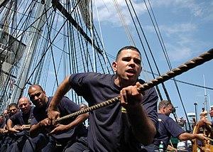 Halyard - Sailors hauling a halyard