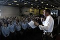 US Navy 071212-N-4776G-031 Capt. Terry B. Kraft, commanding officer of the nuclear-powered aircraft carrier USS Ronald Reagan (CVN 76), addressed the junior enlisted personnel about general concerns and the up coming holiday se.jpg