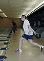 US Navy 080617-N-3844W-001 Midshipman Daniele Weech, assigned to the amphibious assault ship USS Bataan (LHD 5), attempts to bowl a strike during a bowling tournament in Surface Line Week 2008.jpg