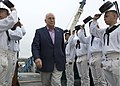 US Navy 080704-N-0167W-070 Vice President Dick Cheney is saluted as he boards the USS Constitution for a Fourth of July celebration. Cheney joined Constitution on an Independence Day cruise as the first vice president to ever e.jpg