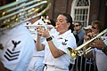 US Navy 090705-N-3271W-085 Musician 2nd Class Audra Ratliff and the U.S. Navy Band Northeast wind ensemble perform at the Faneuil Hall Marketplace during Boston Navy Week, one of 21 Navy Weeks planned across America in 2009.jpg