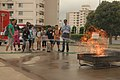 US Navy 100730-N-2218S-086 Children from Commander, Fleet Activities Yokosuka and the city of Yokosuka use fire extinguishers to put out a fire at the 15th annual U.S. and Japan Fire Prevention Camp Adventure.jpg