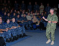 US Navy 100817-N-3666S-004 Master Chief Petty Officer of the Navy (MCPON) Rick West speaks with Sailors assigned to various commands in the Pearl Harbor area during an all-hands call.jpg