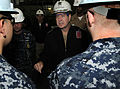 US Navy 100922-N-4058J-027 Vice Adm. Allen G. Myers, Commander, Naval Air Forces, speaks with Sailors of the month aboard the Nimitz-class aircraft.jpg