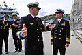US Navy 110830-N-IZ292-151 Vice Adm. Harry B. Harris Jr., right, commander of U.S. 6th Fleet, listens to Rear Adm. Bernt Grimstvedt,.jpg