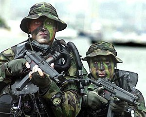 Submachine gun - US Navy SEALs armed with Heckler and Koch MP-5 submachine guns.