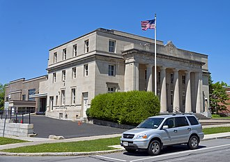 United States Post Office (Canandaigua, New York) - South profile and east elevation, 2014