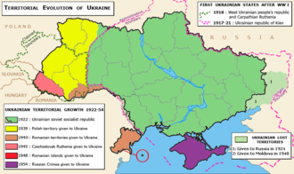 Territorial evolution of the Ukrainian SSR 1922-1954. Okrug Taganrog and Shakhty lost (1924); Polish Volhynia gained (1939); Transnistria lost (1940); Transcarpatia gained (1945); Romanian islands gained (1948); Crimea gained (1954). Ukraine-growth.png