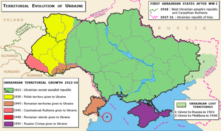 Territorial evolution of the Ukrainian SSR, 1922-1954 Ukraine-growth.png