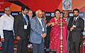 Union Minister of Information and Broadcasting, Smt. Ambika Soni lighting the traditional lamp at the opening day of business conclave on Media & Entertainment, organised by the FICCI, in Chennai on November 18, 2009.jpg