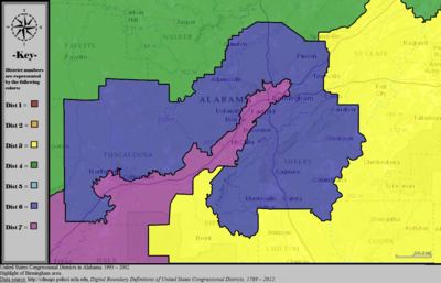 United States Congressional Districts in Alabama (metro highlight), 1993 – 2002.tif