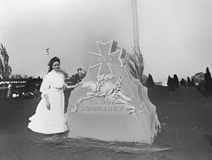 Anita Newcomb McGee - Miss Klotho McGee stands next to the Spanish American War Nurses Memorial after its unveiling in May 1905.