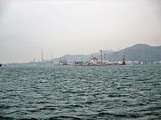 Tuen Mun–Chek Lap Kok Link - View of the Urmston Road, with construction of the tunnel's northern landfall visible