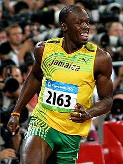 Bolt efter finalen på 100 m på OS 2008.