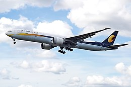 VT-JEK Boeing 777 Jet Airways (14764668176).jpg