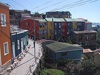 Casas en los cerros del puerto de Valparaíso