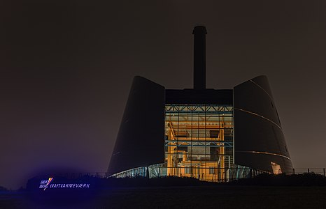Viborg Power Plant at night