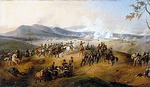 Napoleone dirige l'Armata d'Italia alla battaglia di Castiglione in un dipinto di Victor Adam