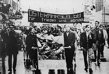 Vietnam War protesters in Vienna in 1968 Vietnam War protests in Vienna, Austria (Greyscale).jpg