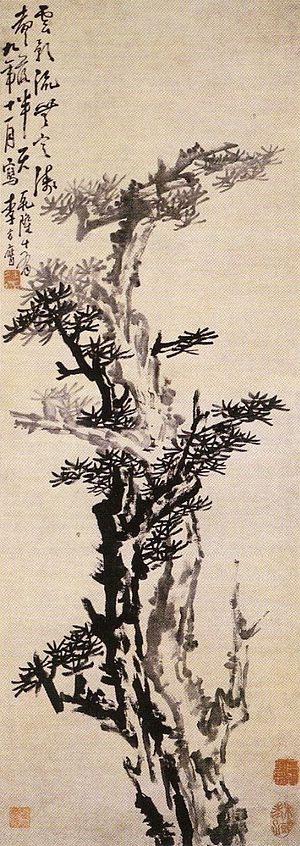 Li Fangying - Old pines, ink on paper drawing by Li Fangying (1753) 123x43,6cm
