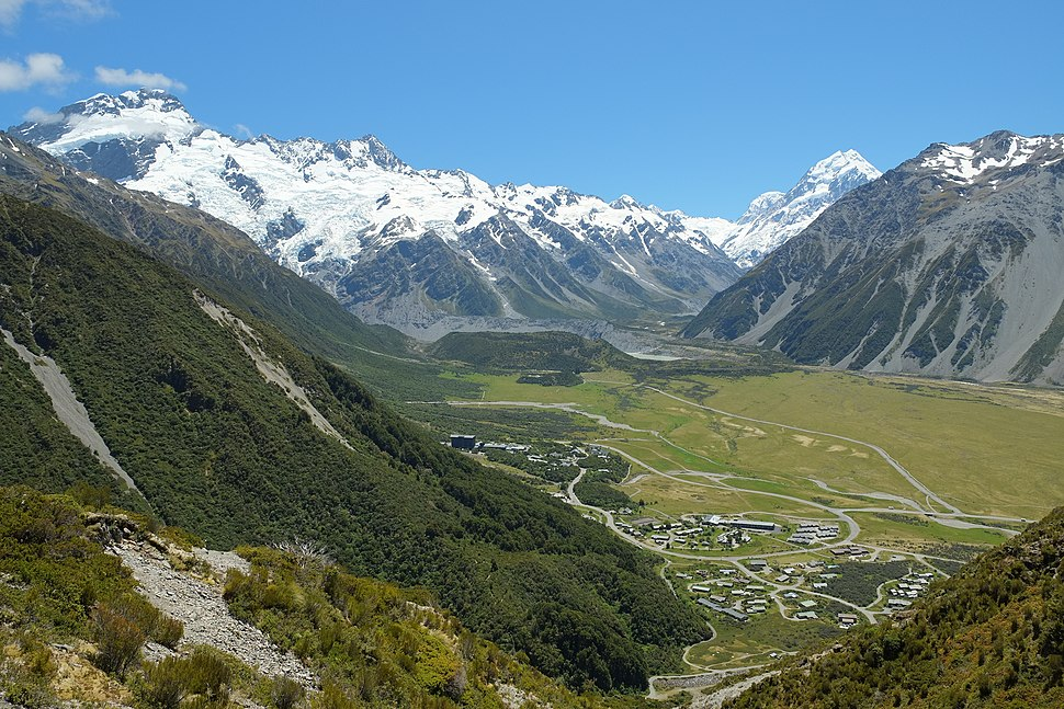 View across Mount Cook Village to Hooker Valley, Mt Sefton and Mount Cook