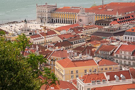 View from the Sao Jorge Castle, including the Praca do Comercio on the waterfront View from the Sao Jorge Castle, including the Praca do Comercio on the waterfront.jpg
