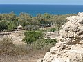 View of Ashkelon from City Walls looking down to Mediterranean Sea.JPG