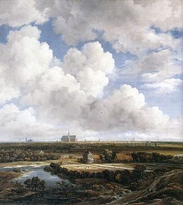 painting of a town in the distance and fields under a big sky