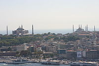 From left to right: The Sultan Ahmed Mosque; the Hagia Sophia; the Seraglio Point consisting of the Topkapı Palace and the Sea Walls; and the Galata Tower at far right, across the Golden Horn