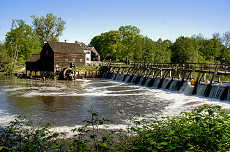 Pocantico River - The river, spillway, and impoundment at the Philipsburg Manor House