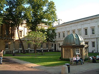 UCL Main Building - The UCL Quad, part of the main campus, in front of the Slade School of Fine Art and the Main Building housing the Library, the astronomy shed is to the right with a sliding roof