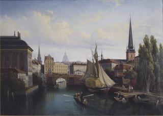 View of the Riddarholmskanalen, Stockholm, 1835