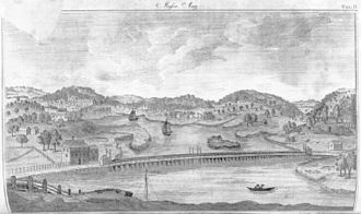 Mystic River - Engraving of the Mystic River and environs in 1790