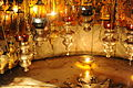 Vigil lamps under the Altar of the Nativity, Bethlehem 026 - Aug 2011.jpg