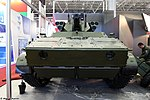 Vikhr reconnaissance-assault unmanned ground vehicle with ABM-BSM 30 weapon turret on BMP-3 chassis at Military-technical forum ARMY-2016 01.jpg