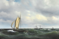 Vilhelm Melbye - Stormfuld Eftermiddag i Skagerak. En dansk Jagt og forskjellige Skibe passere Skagen - 1850.png