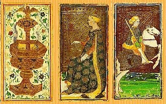 Tarot - Three cards from a Visconti-Sforza tarot deck